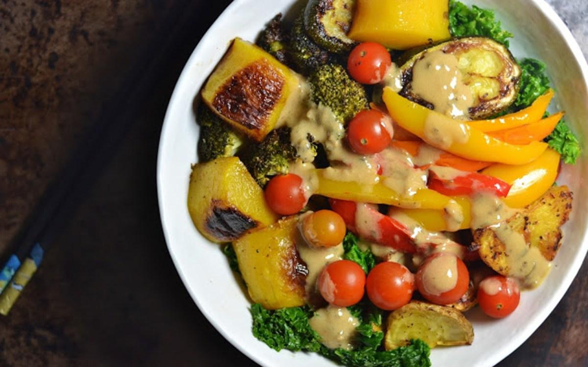 Vegan Roasted Veggie Noodle Bowls With Lemon Tahini Dressing