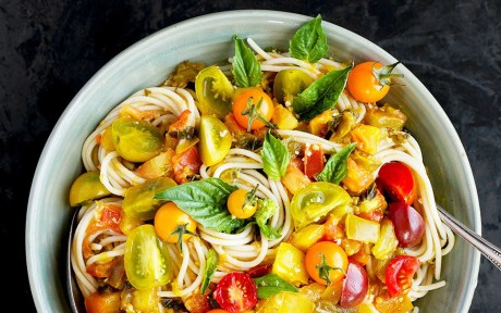 Vegan Gluten-Free Heirloom Tomato and Basil Wine Sauce Over Pasta