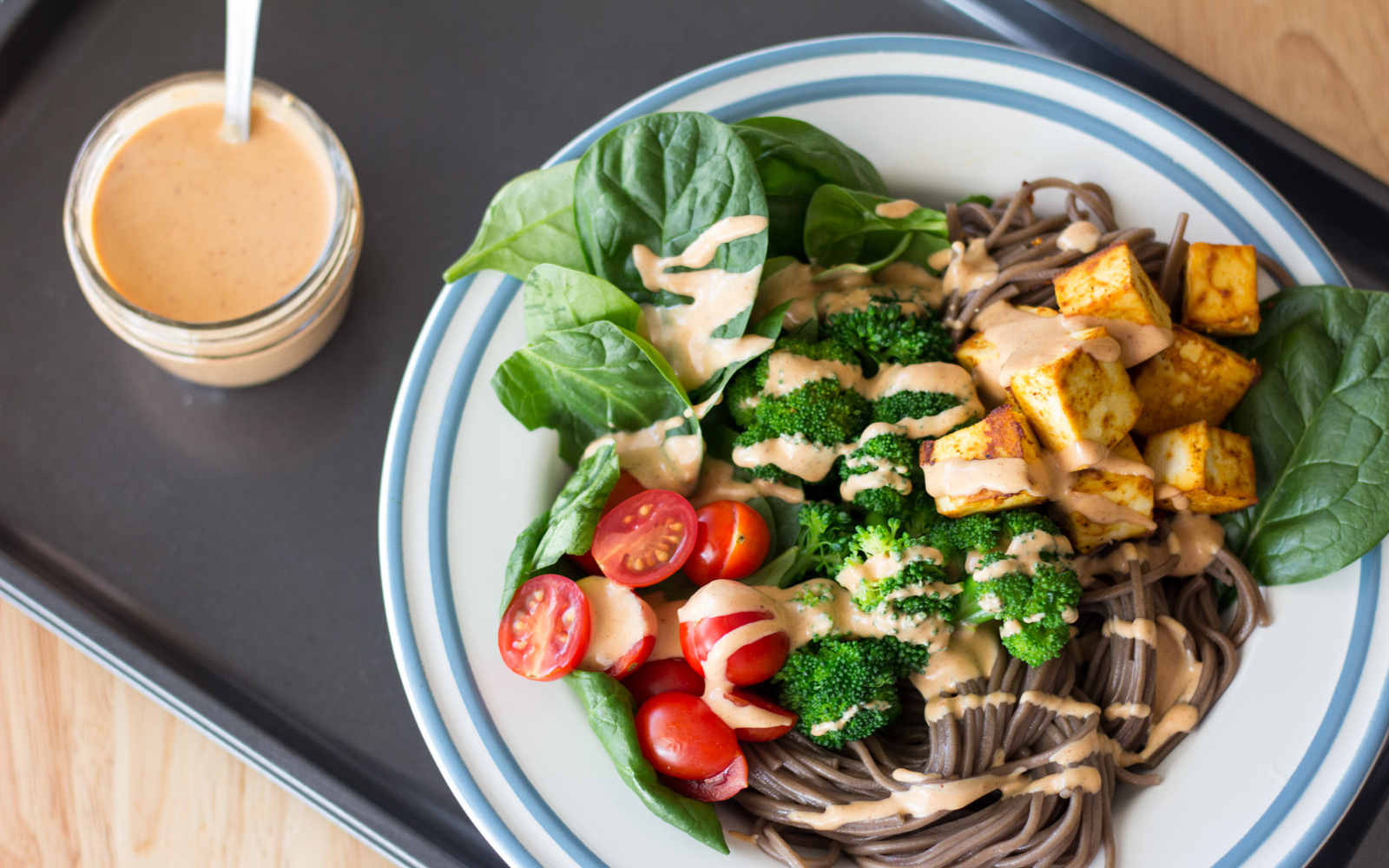 Vegan Soba Noodle Bowl With Peanut Sauce with greens