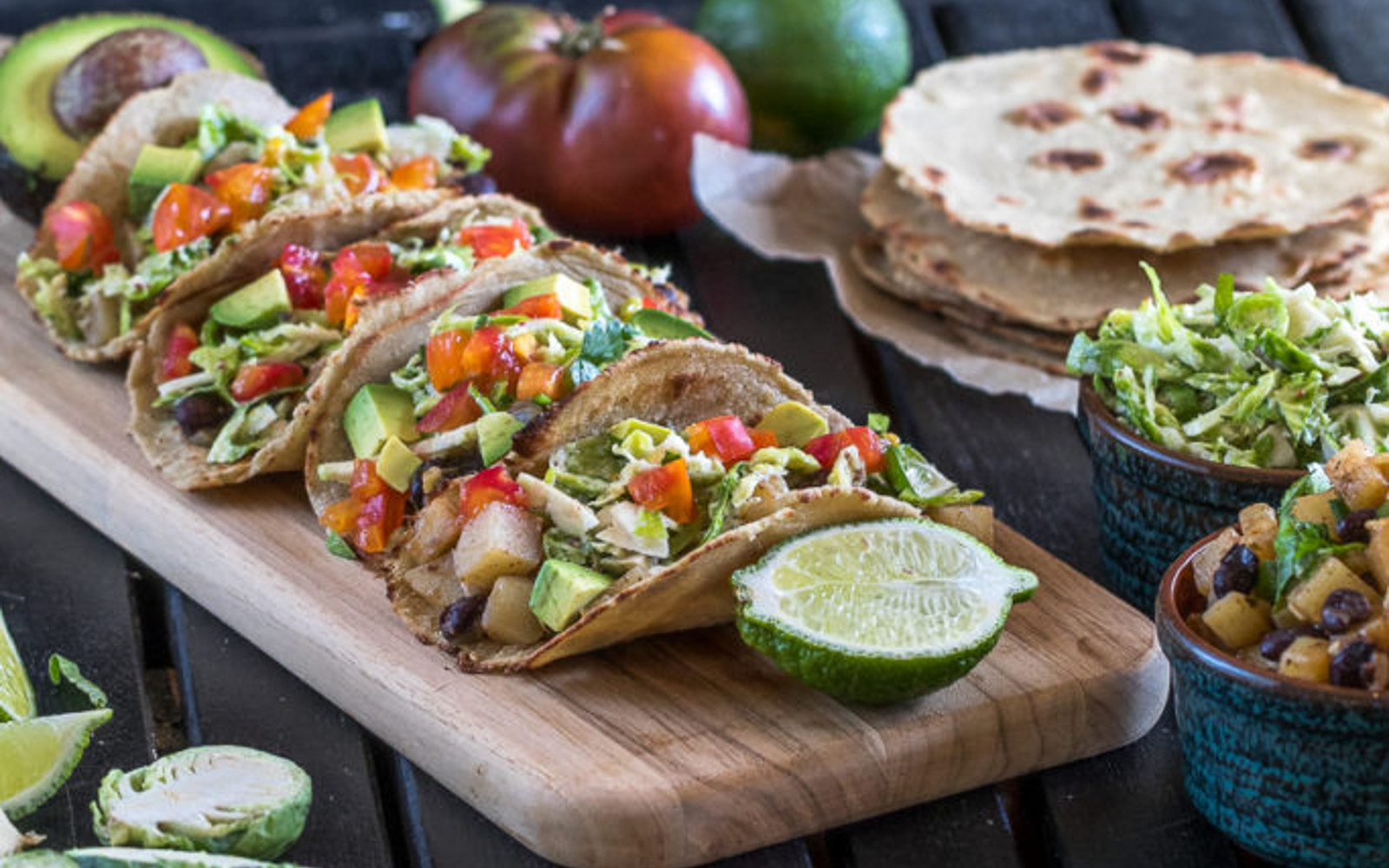 vegan potato tacos with brussels sprouts slaw and quinoa tortilla