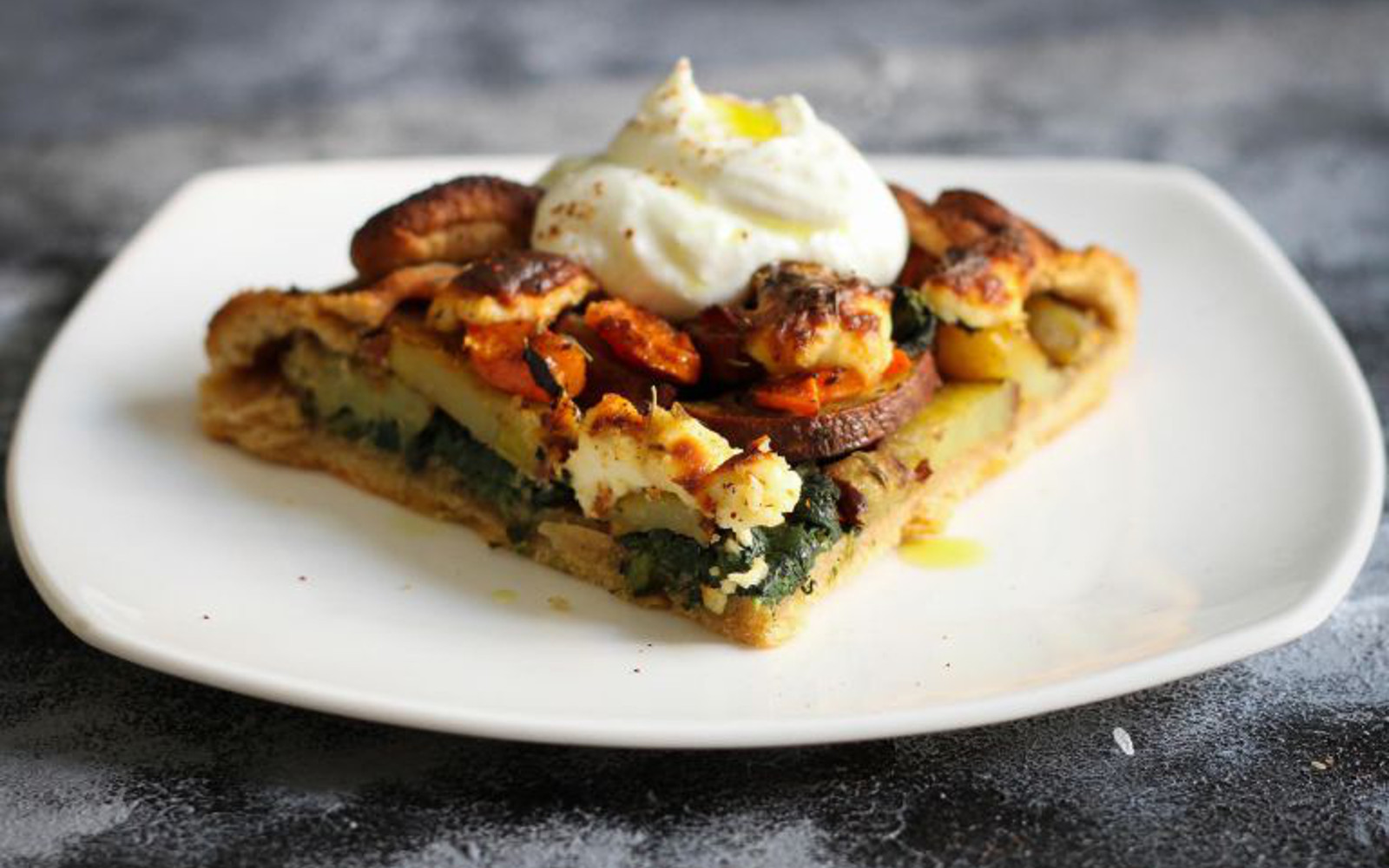 Vegan Sweet Potato Carrot Galette with topping