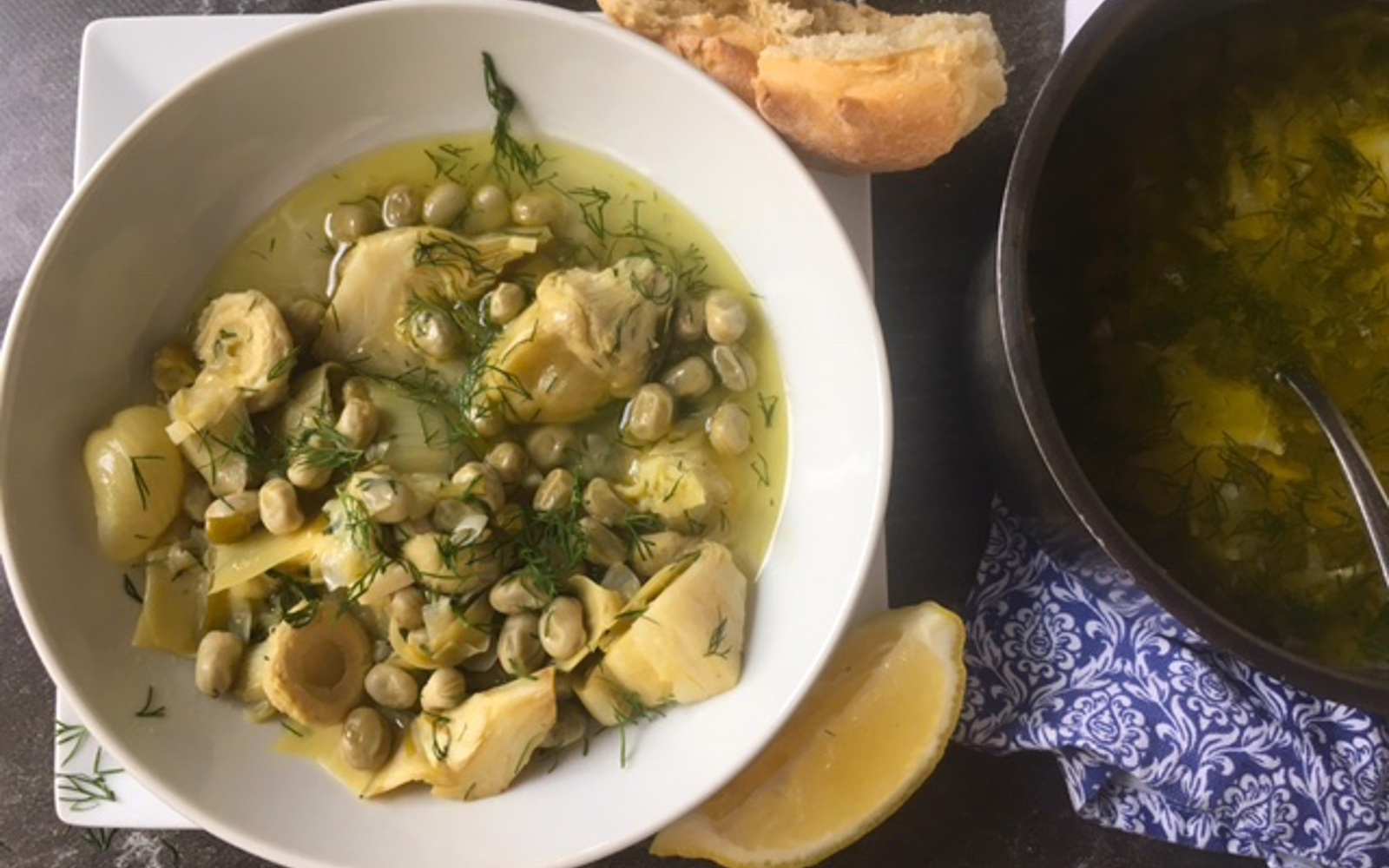 Vegan Grain-Free Stewed Artichokes with Fava Beans topped with dill