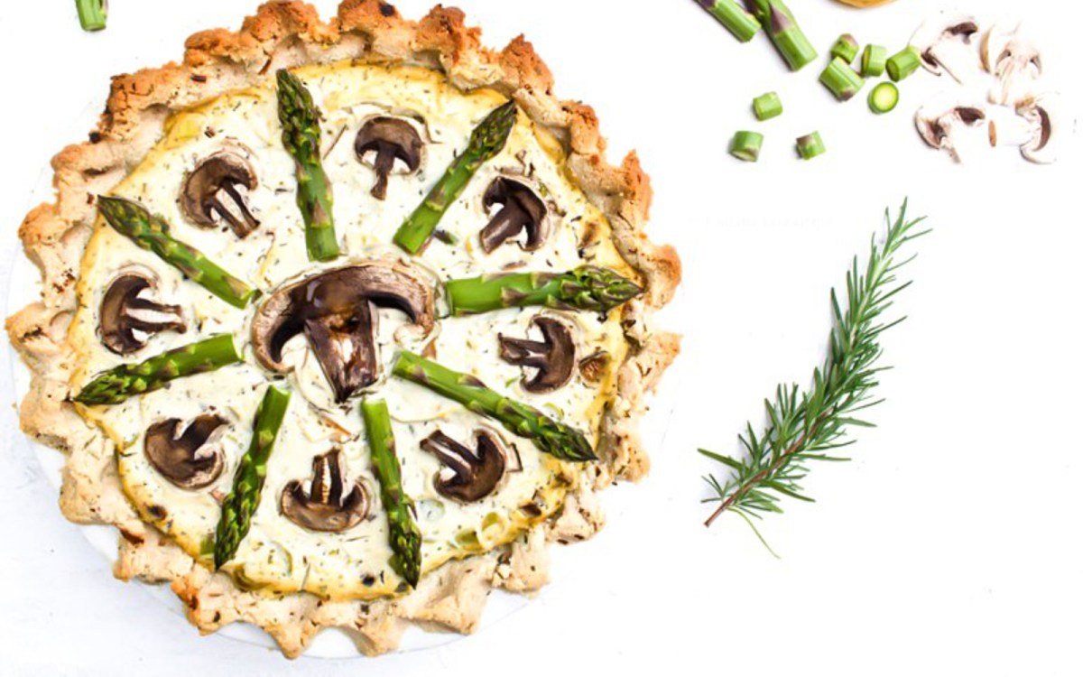 Vegan Asparagus and Mushroom Tofu and Quiche With Rosemary Almond Flour Crust
