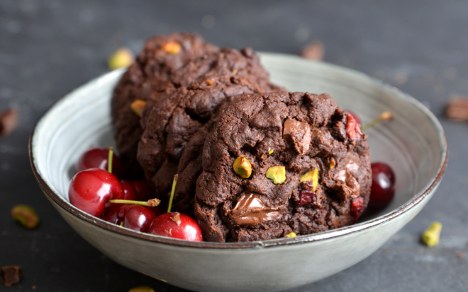 Vegan Cherry and Pistachio Double Chocolate Chip Cookies