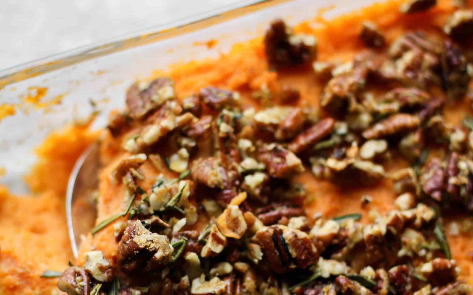 Vegan Sweet Potato Casserole With Rosemary Pecan Parmesan