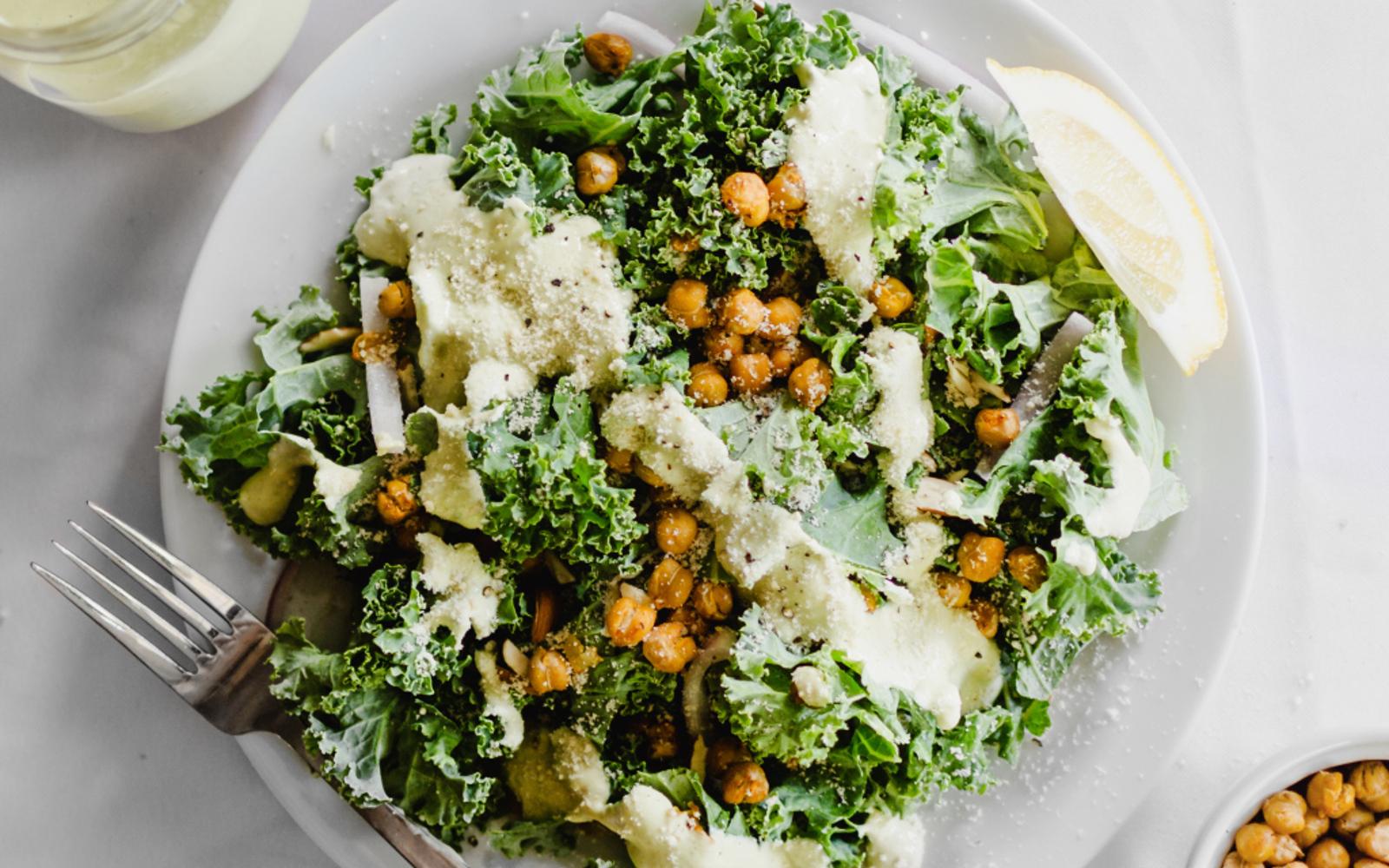 Vegan Grain-Free Roasted Chickpea Caesar Salad