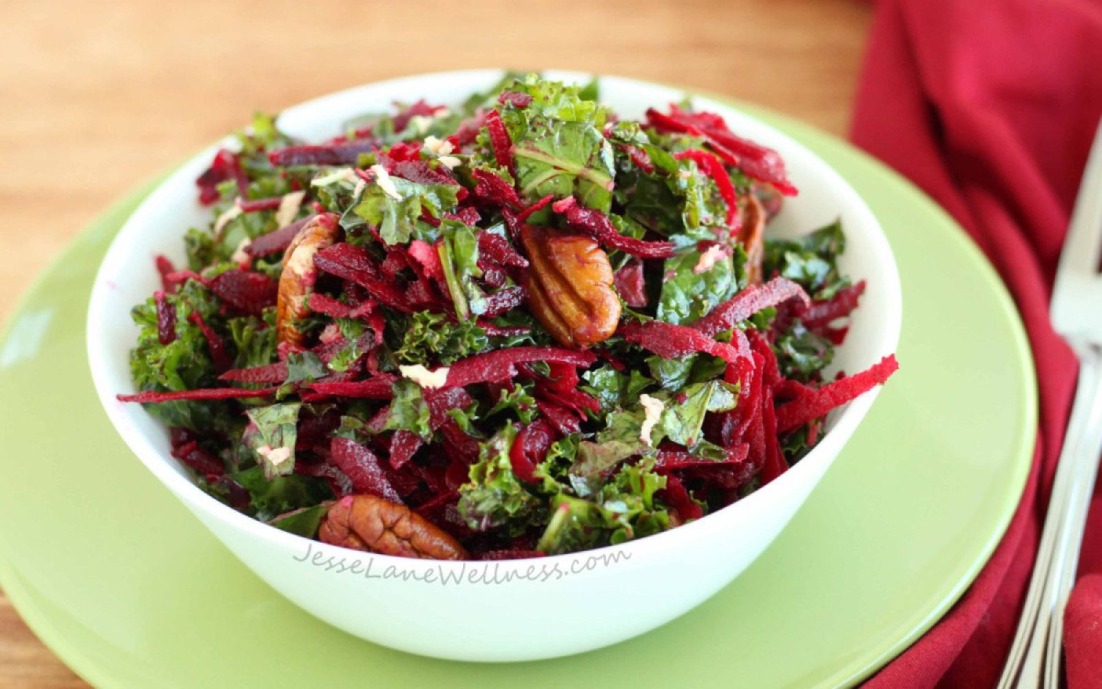 Vegan Kale, Beet, and Pecan Salad With Ginger Dressing