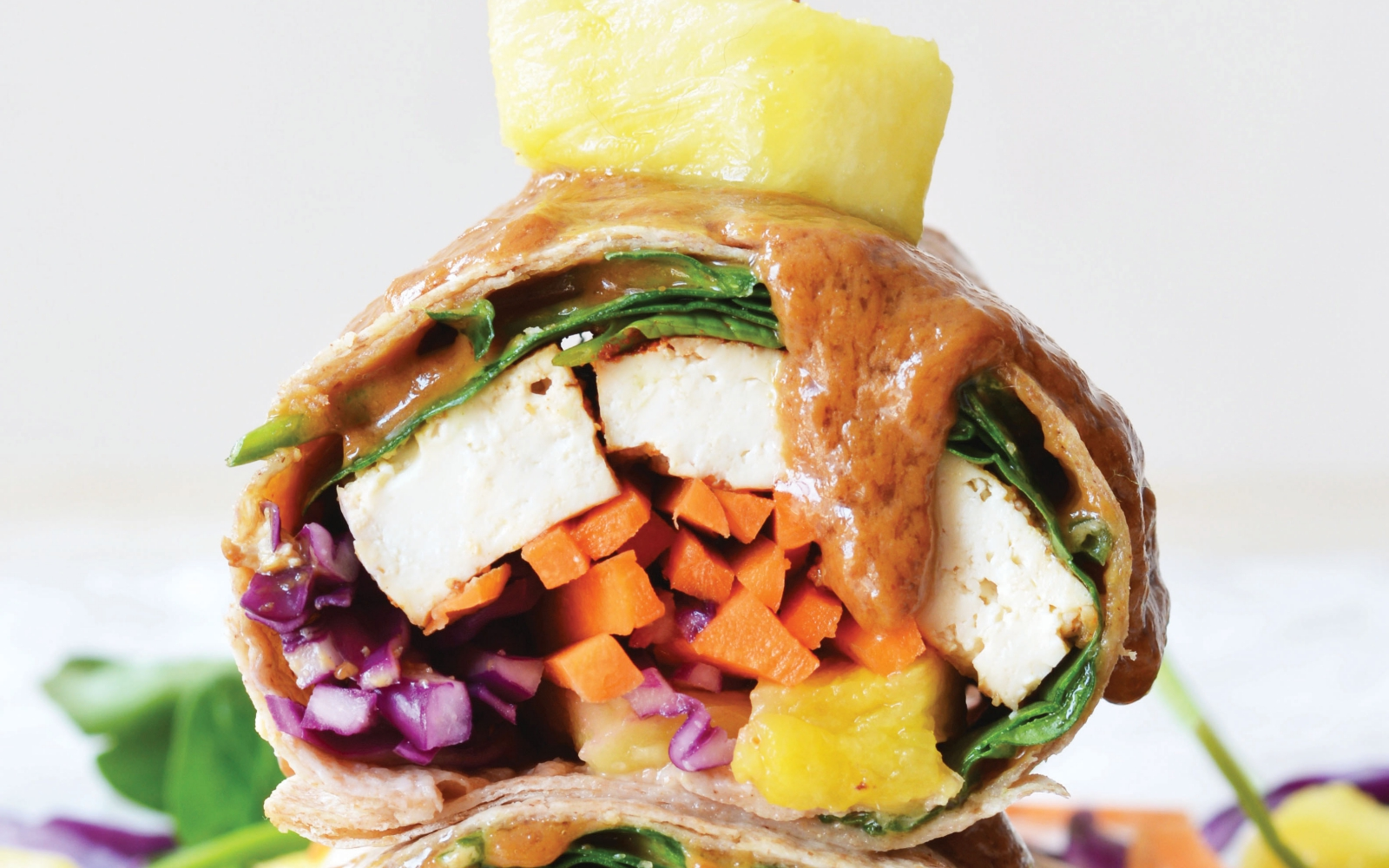 vegan pineapple peanut sauce tofu wraps
