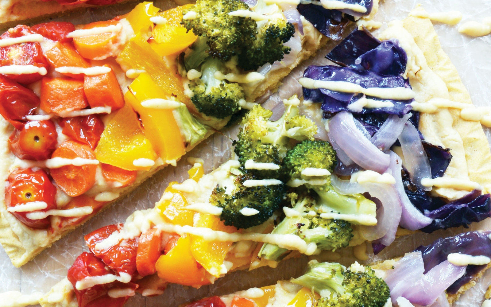 Vegan Gluten-Free Chickpea Crust Rainbow Alfredo Pizza
