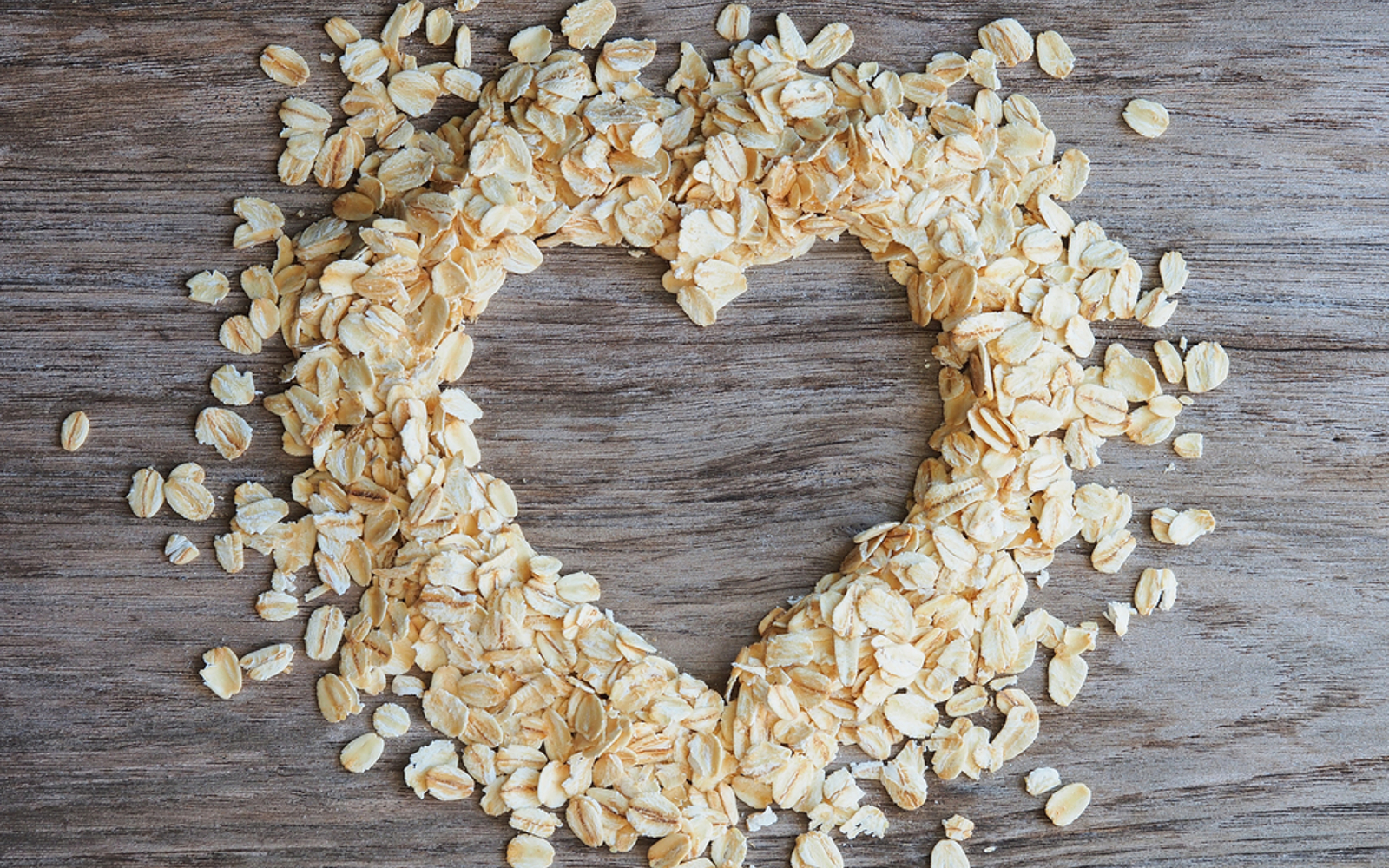 Rolled oats in the shape of a heart