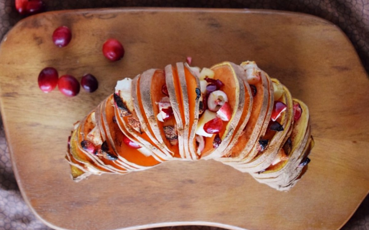 Vegan Gluten-Free Hasselback Sweet Potatoes With Apple Cranberry Relish