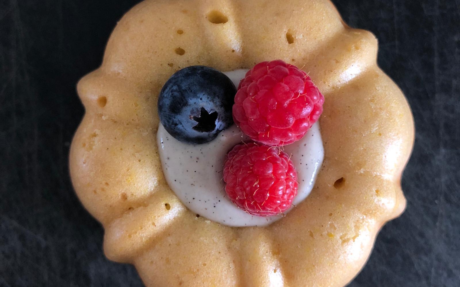 Vegan Mini Yogurt Bundt Cakes With Berries and Filling