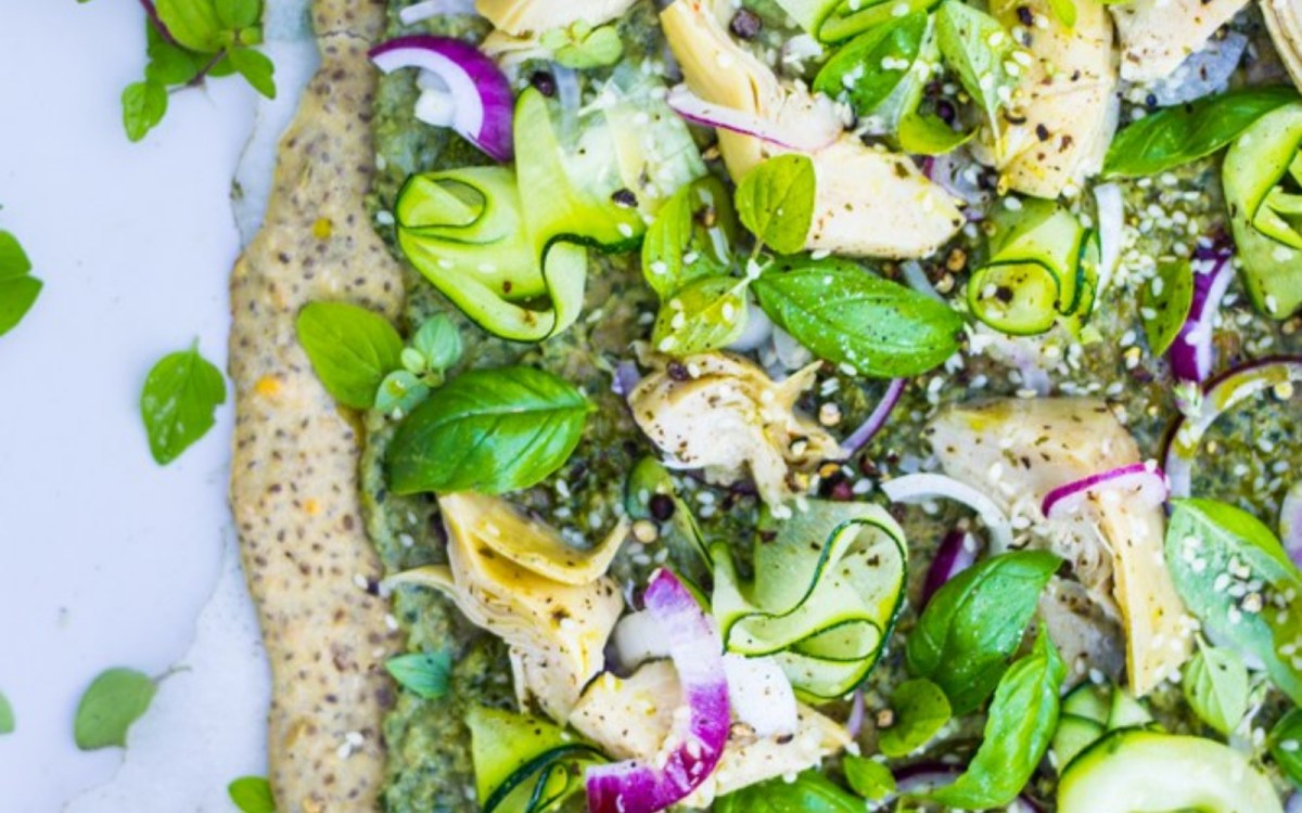 Chia and Fennel Green Pizza With Kale Pesto and Hummus
