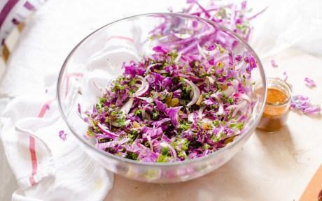 vegan winter flowering kale salad with a citrus dressing