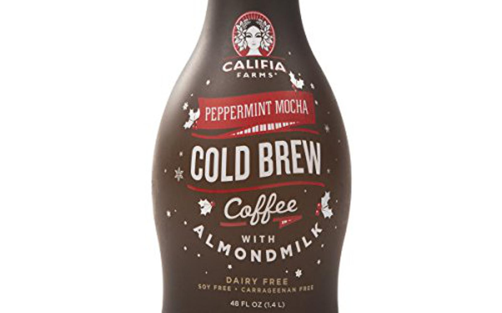 Califia Farms Cold Brew Coffee with Almondmilk, Seasonal Peppermint Mocha, 48 Ounce