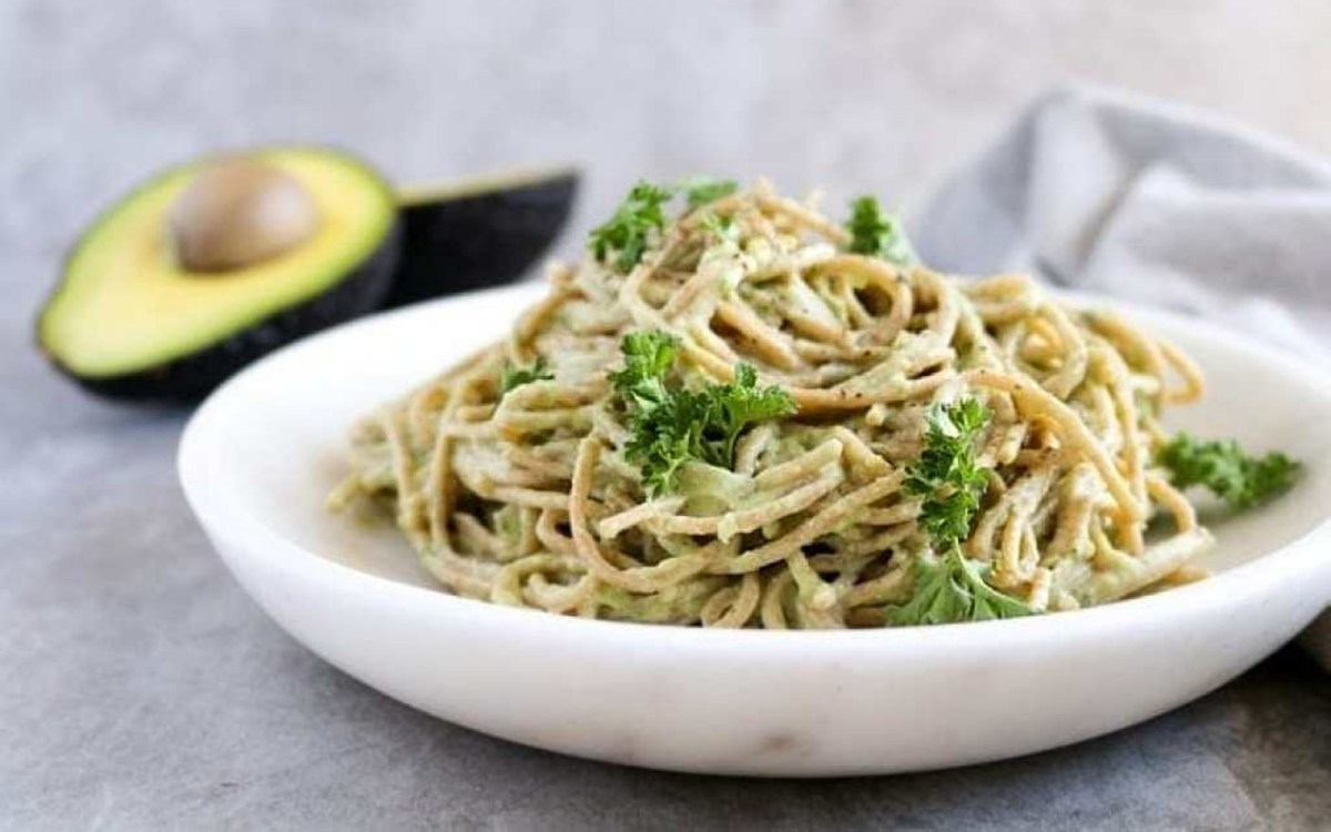Vegan High-Protein Creamy Tofu and Avocado Pasta