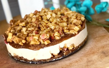 Vegan Caramel-Apple Cheesecake With Date Caramel Drizzle