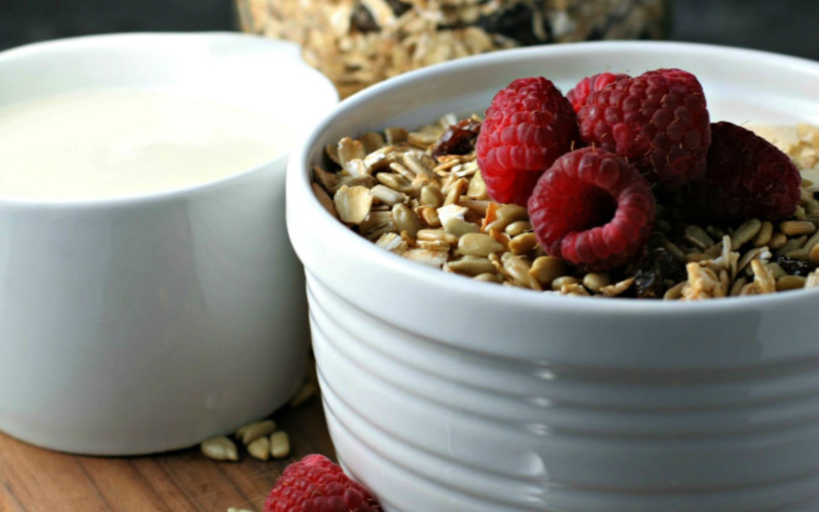 Vegan Gluten-Free Sunflower Muesli topped with raspberries