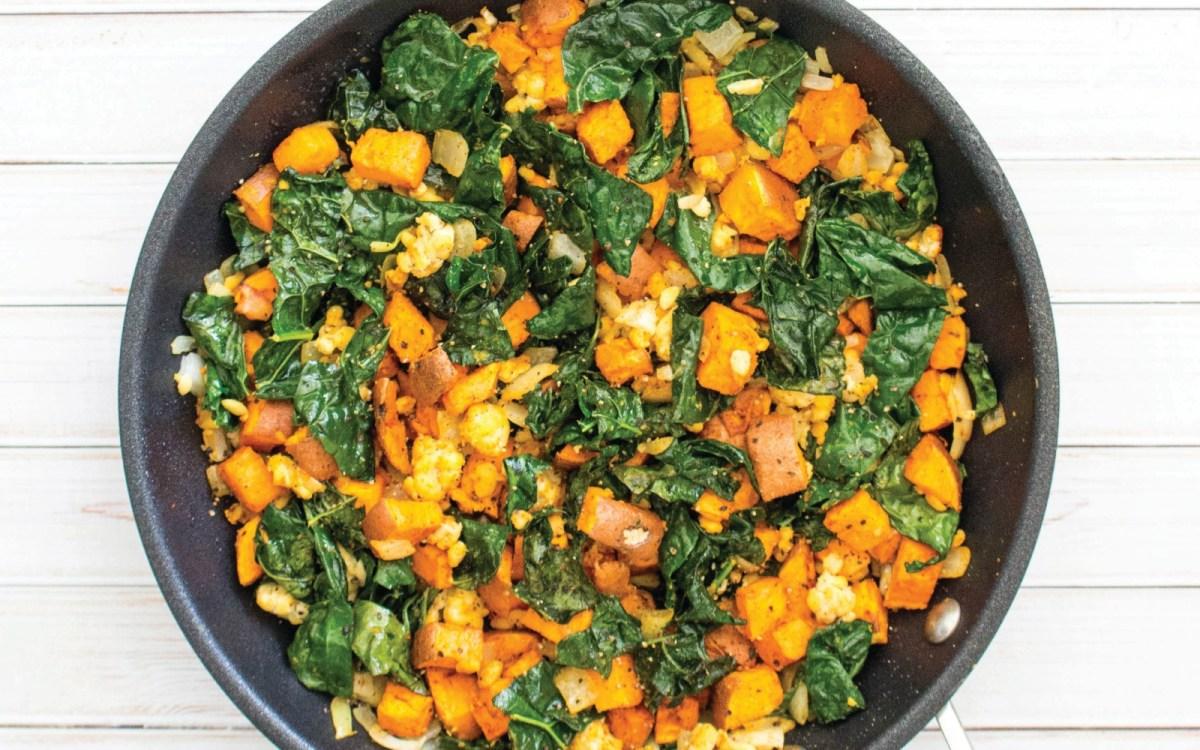 Vegan Kale, Sweet Potato and Tempeh Breakfast Hash