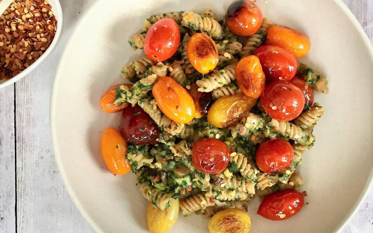Vegan Red Lentil Pasta With Basil-Pistachio Pesto