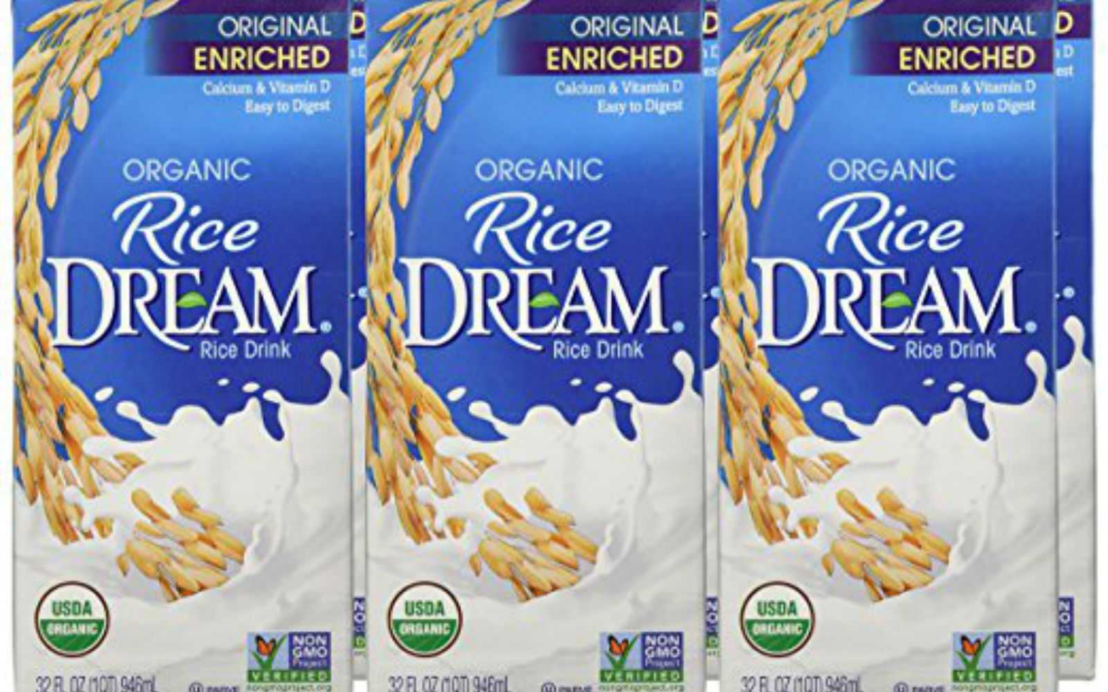 RICE DREAM Enriched Original Organic Rice Drink, 32 Fluid Ounce (Pack of 6)