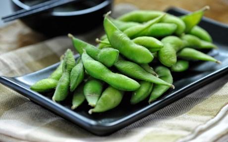 Plate of vegan edamame soy beans