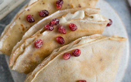 Vegan Classic French Crepes with pomegranate seeds with cashew cream