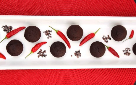 Vegan Gluten-Free Dark Chocolate Chili Brownies with fresh peppers