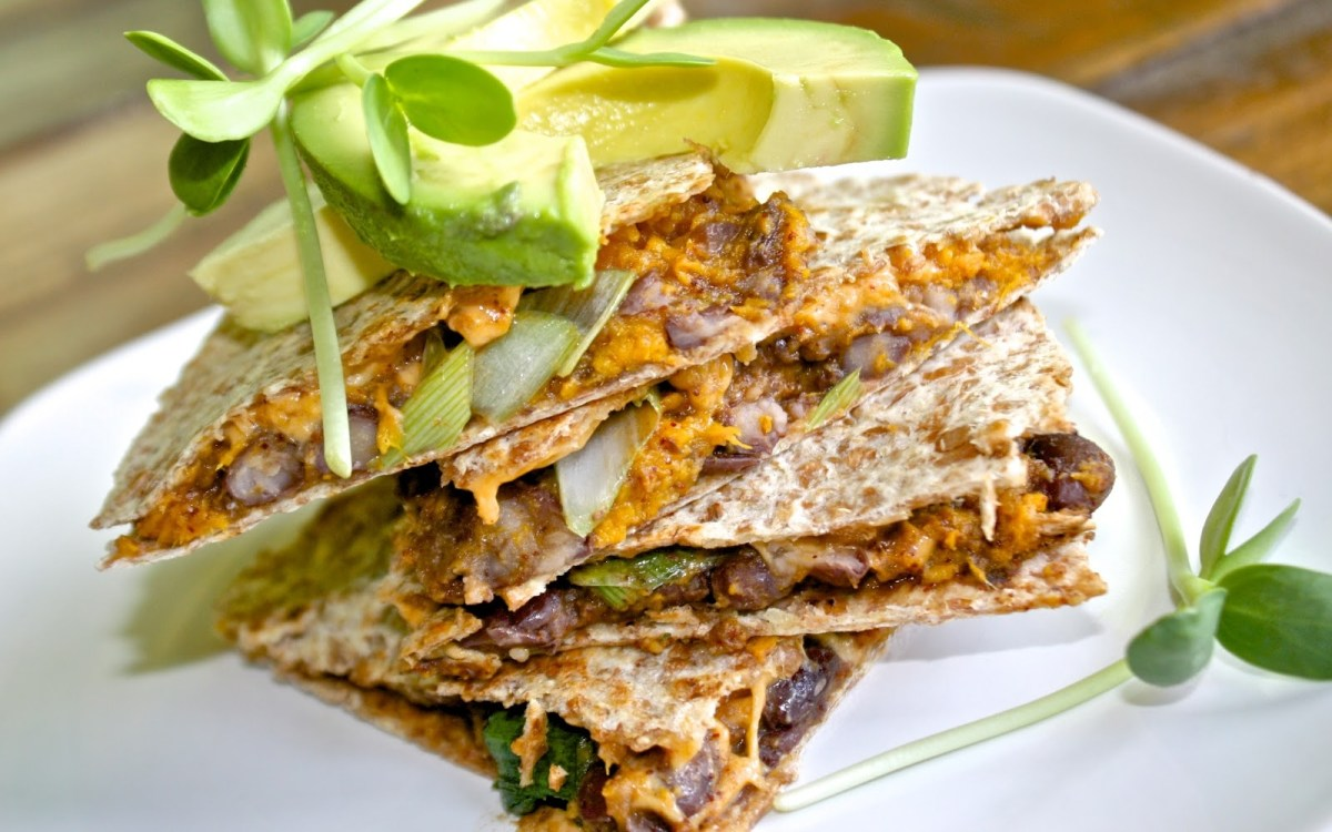 High Protein Sweet Potato Black Bean Quesadillas