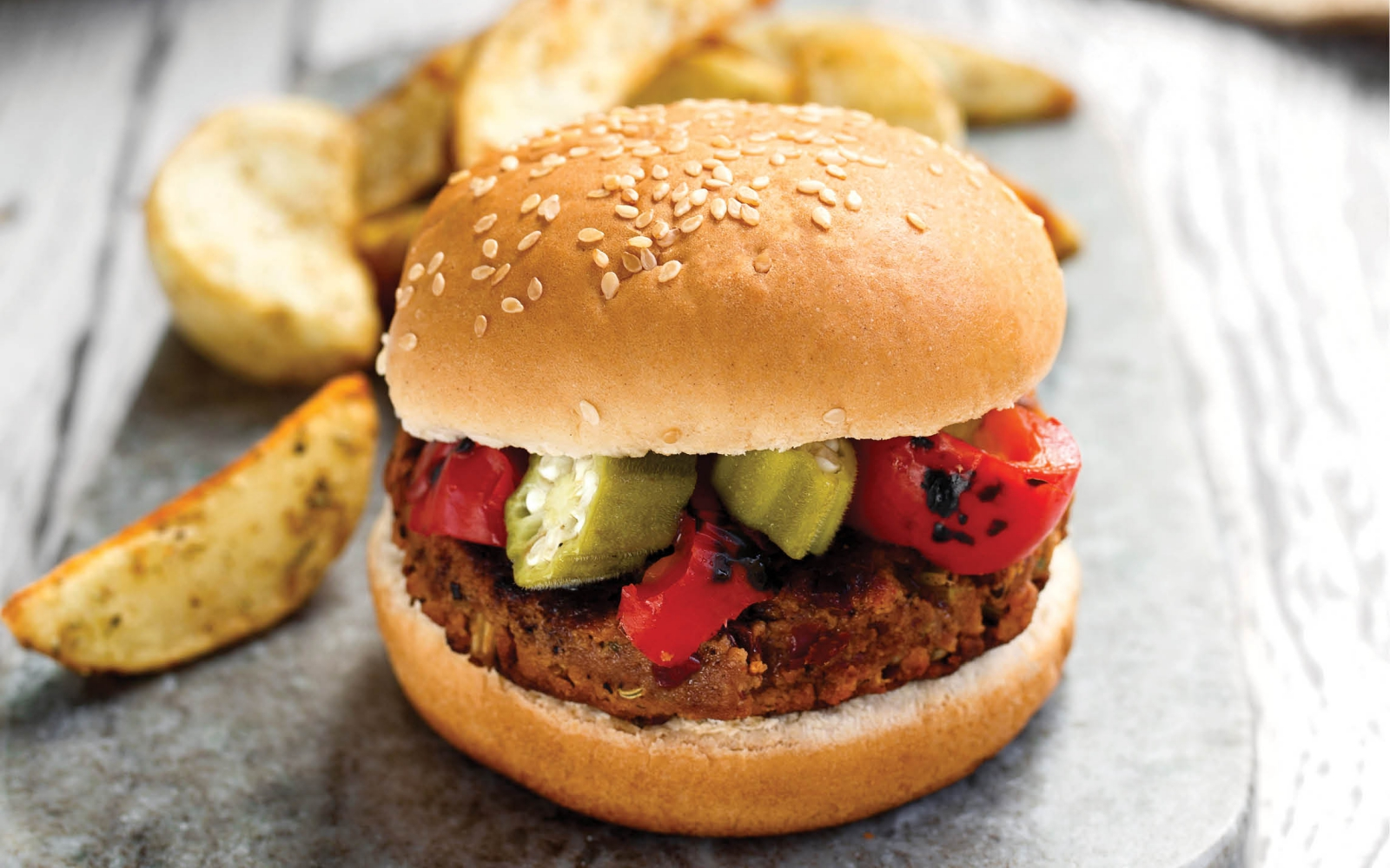 Vegan Sausage Gumbo Red Bean Burgers With Quick Pickled Okra