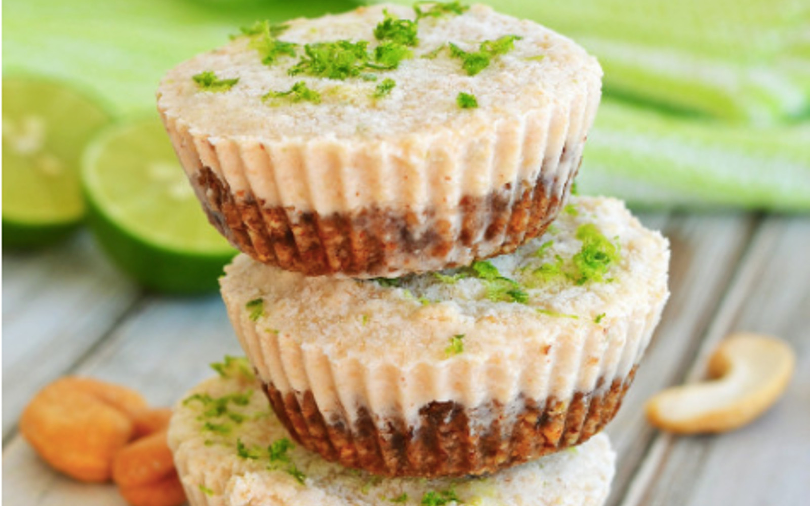 Vegan Gluten-Free Mini Key Lime Pies with lime zest topping
