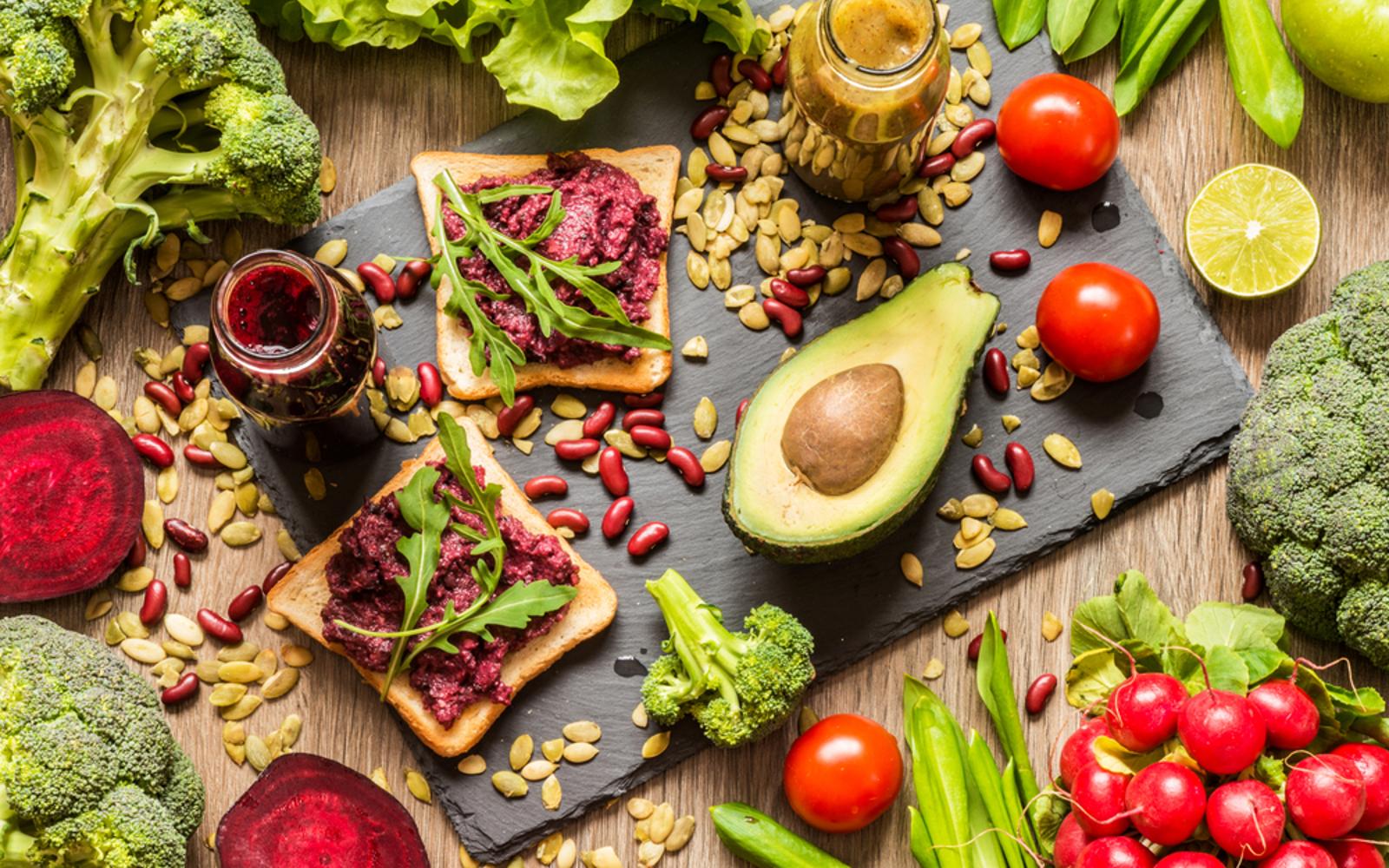 Vegan food avocado sandwiches with beet hummus