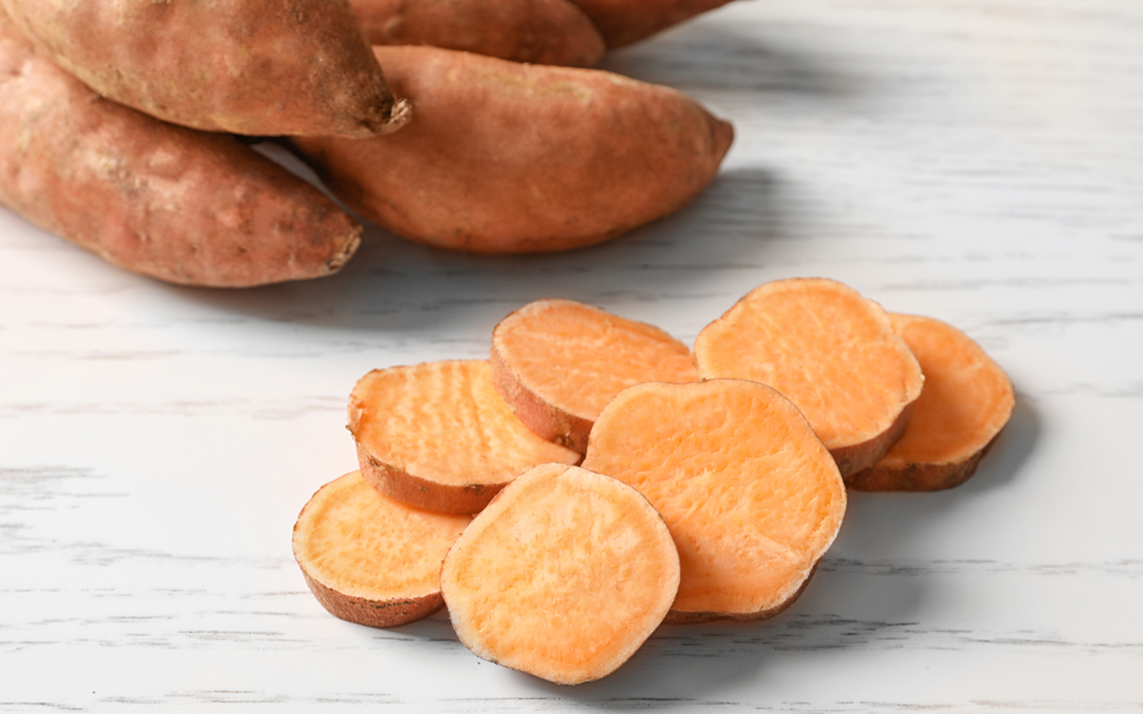 Vegan Raw Sweet Potato in slices