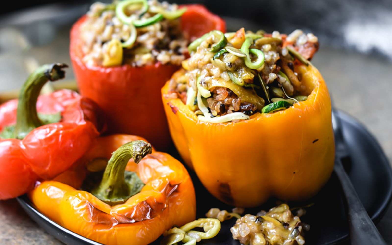 Vegan Gluten-Free Vegetables and Lemongrass Wild Rice Stuffed Peppers
