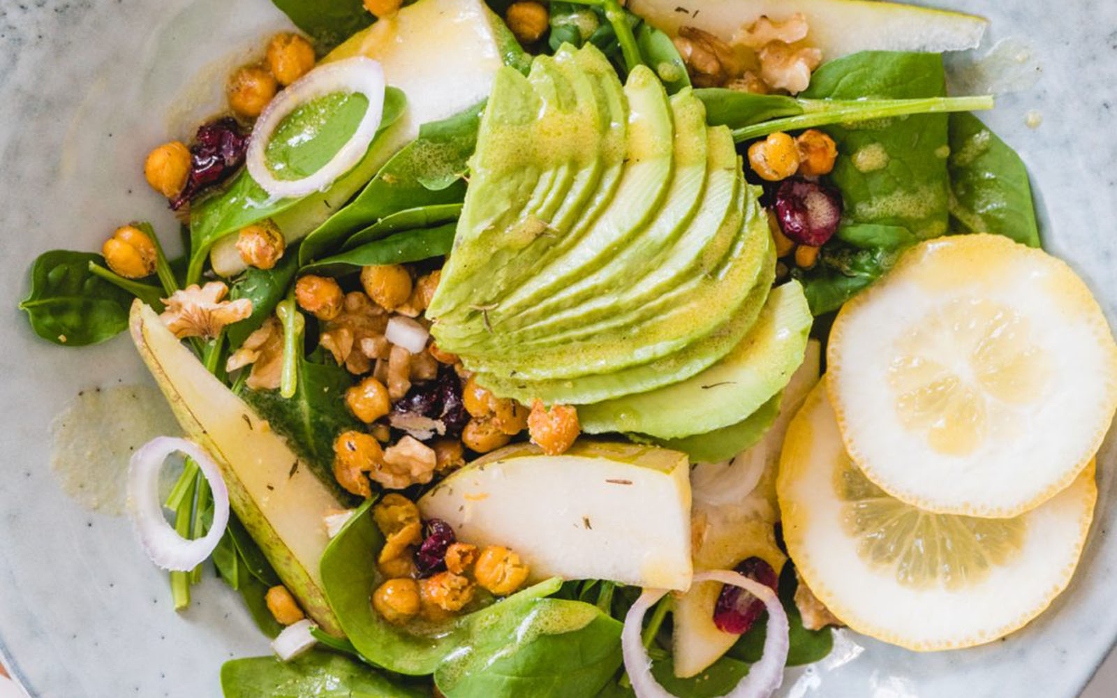 Vegan Pear Salad With Crispy Chickpea Croutons