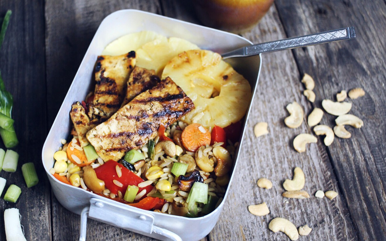 Vegan Pineapple and Cashew Stir Fry with Caramelized Tofu