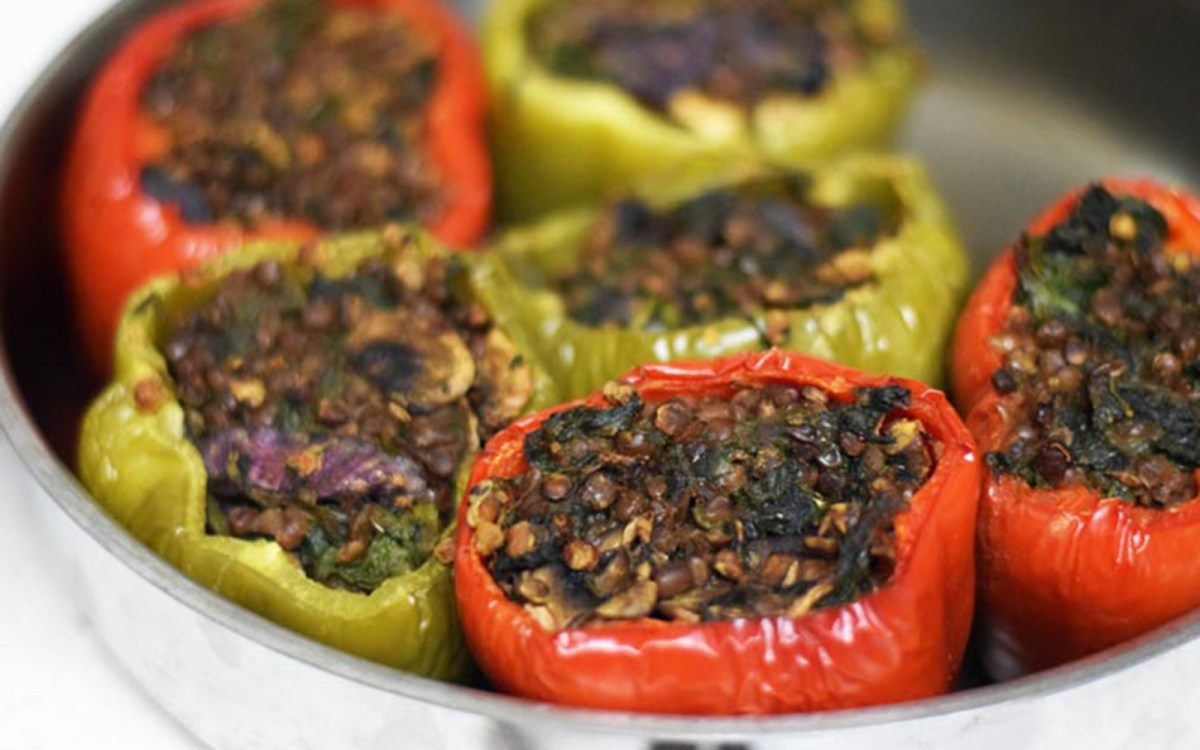 Vegan Lentil-Stuffed Peppers