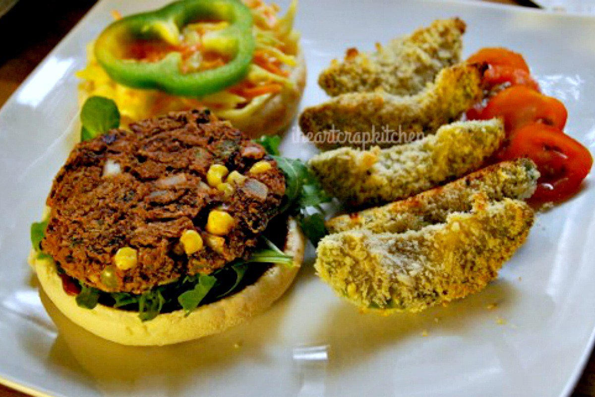 mexican vegan bean burger