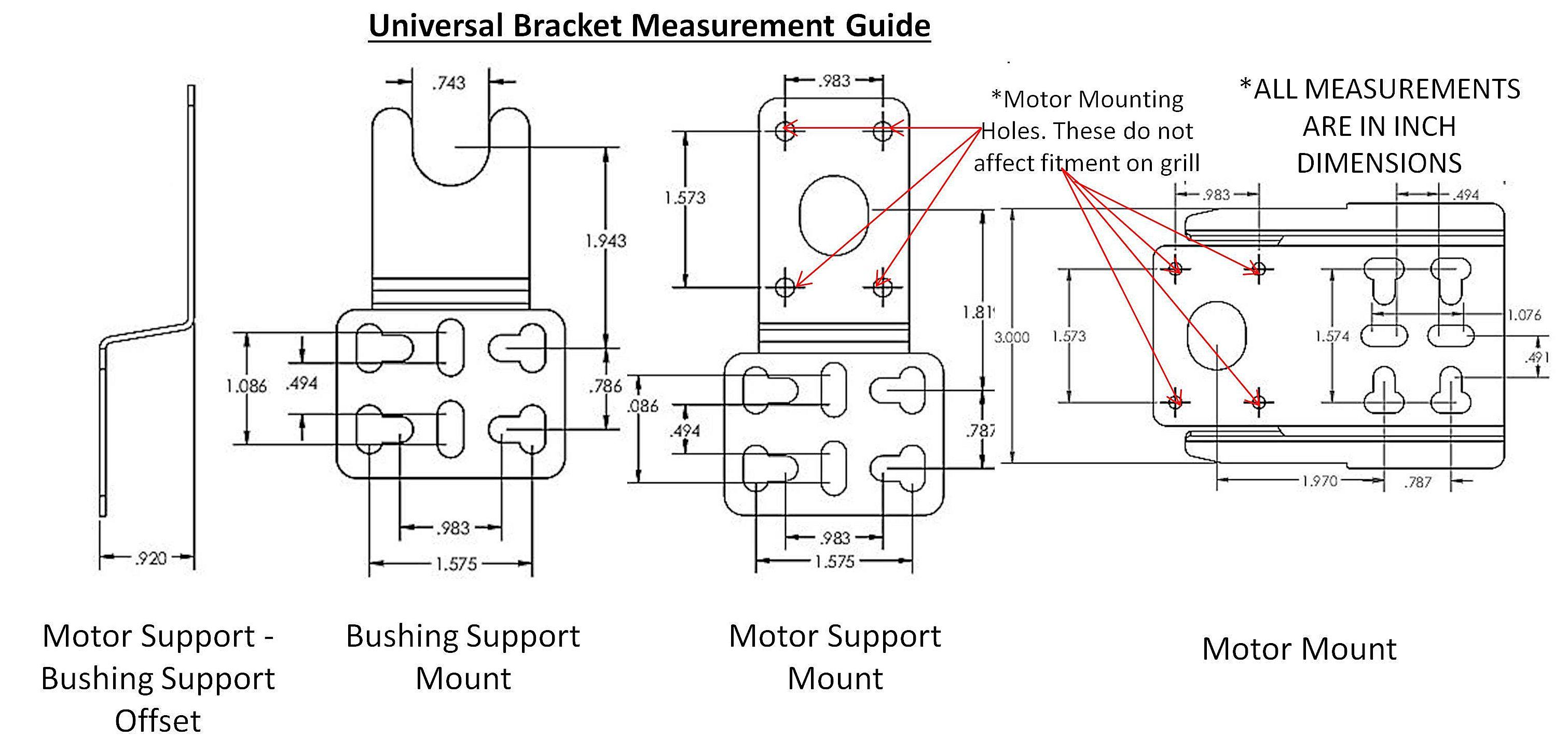 Grill Rotisserie Universal Motor Mounting Bracket Set