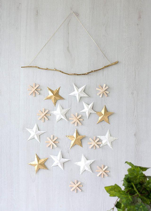 kerst DIY - wallhanger sterren