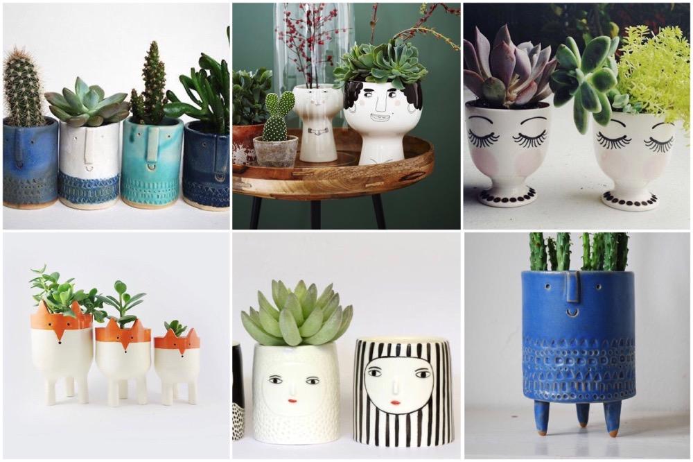 plantenpotten met gezichtjes