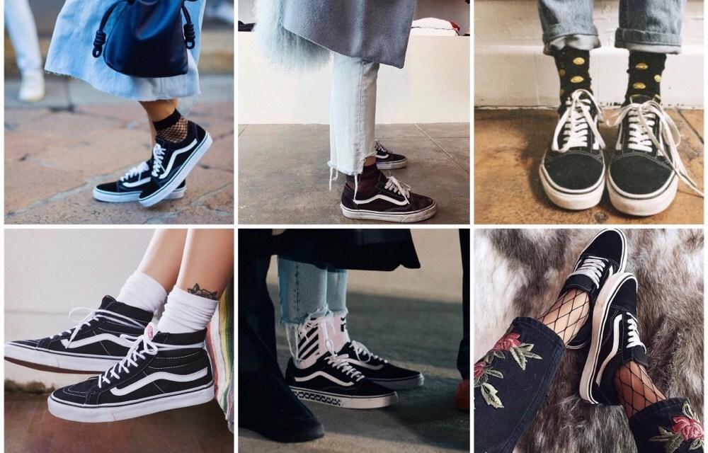 Fashiontrend: zwarte VANS met sokken