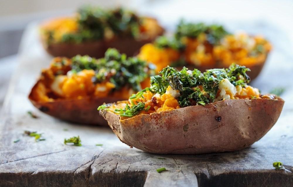 Gepofte zoete aardappel, uit de slowcooker