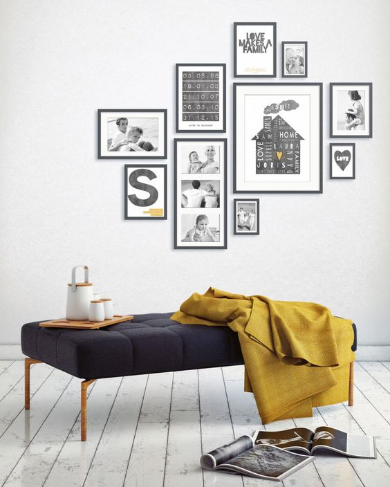 gallery wall zwart wit