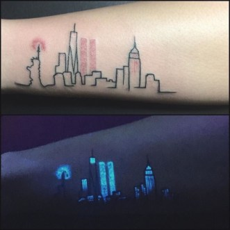 New York skyline tattoos onderarm