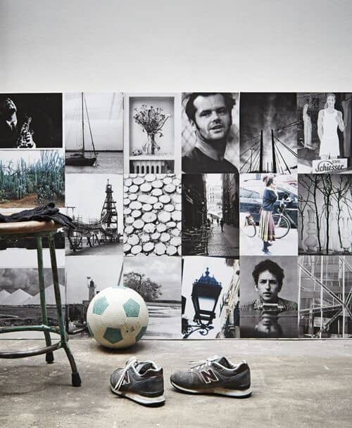foto collage op plank