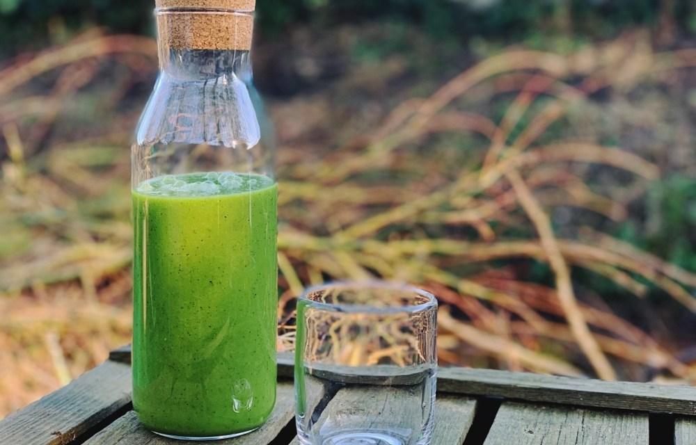 Groene smoothie met kiwi, komkommer en spinazie