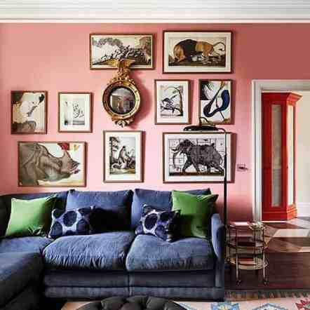 art wall on pink wall