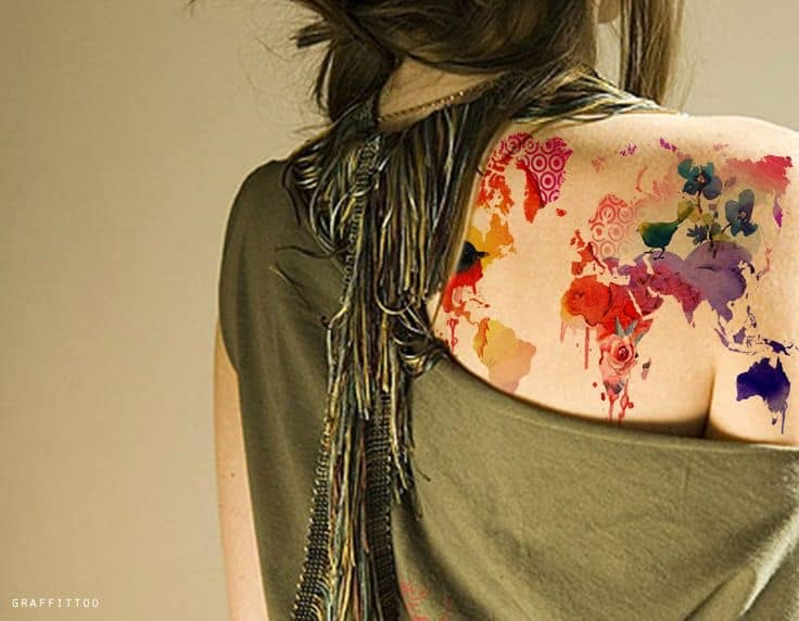 worldmaptattoo with color