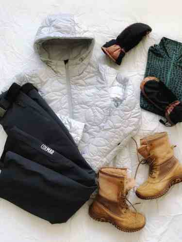 Outfit for snowshoe hike